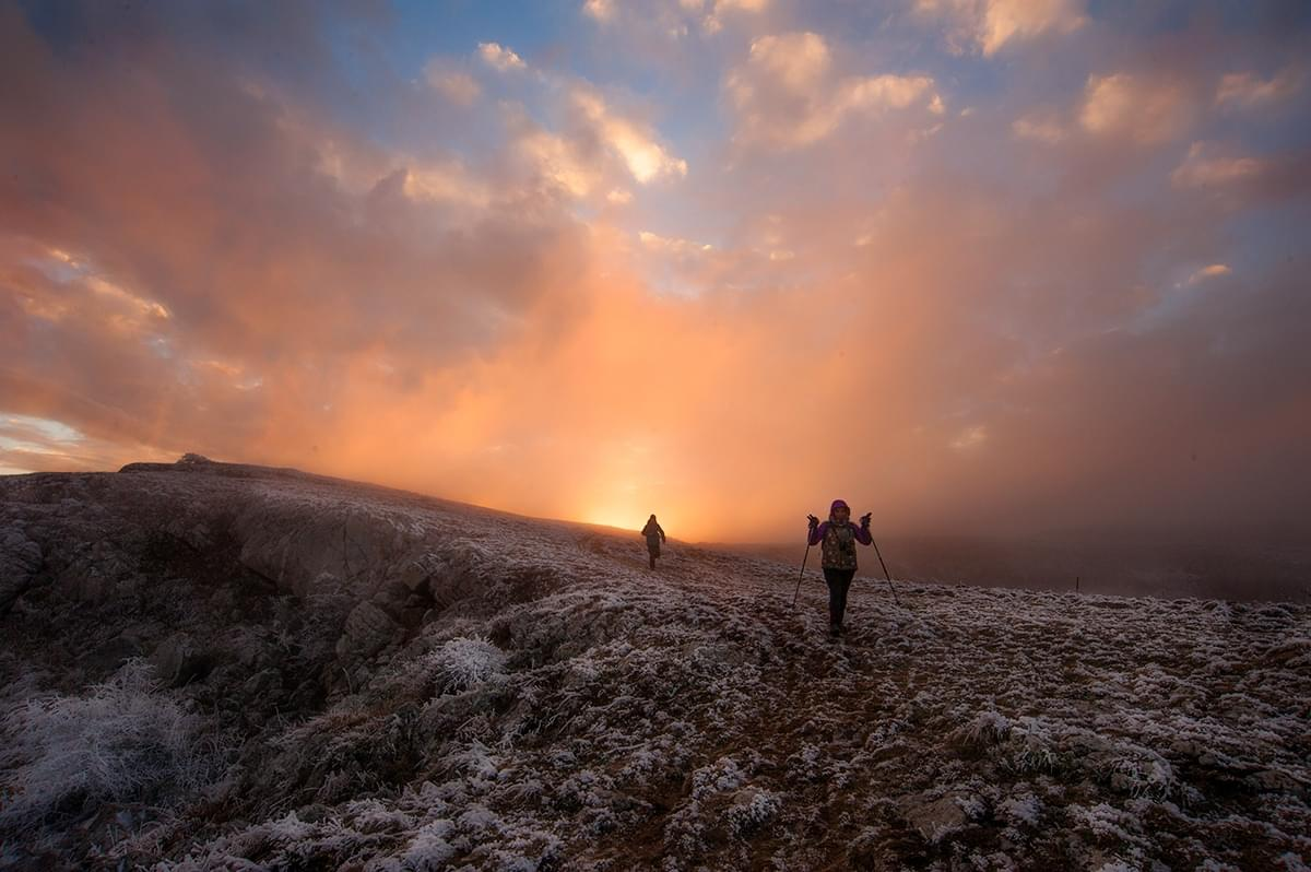 Hiking in the Crimea - sunset on the upper plateau of the mountain Chatyr-Dag